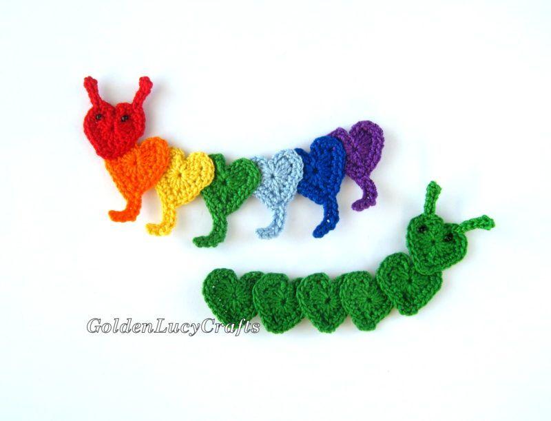 Crochet Caterpillar Applique | Baby blankets | Pinterest
