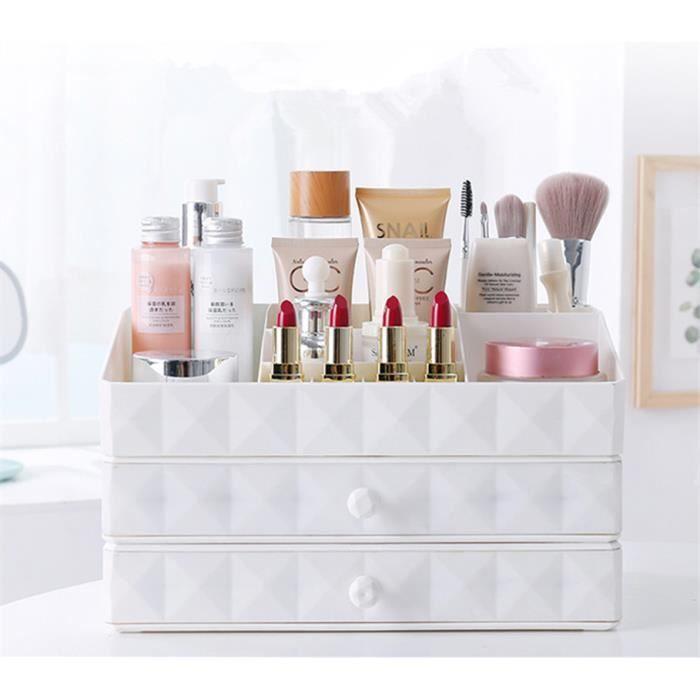 Organiseur Rangement Maquillage Tiroir 3 Compartiments Pour Cosmetiques Pour Salle De Bain Bureau Boite De Rangement Blanc Boite Rangement Maquillage Rangements Maquillage Boite De Rangement