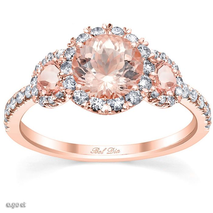 A three stone engagement ring with a halo is an excellent way to