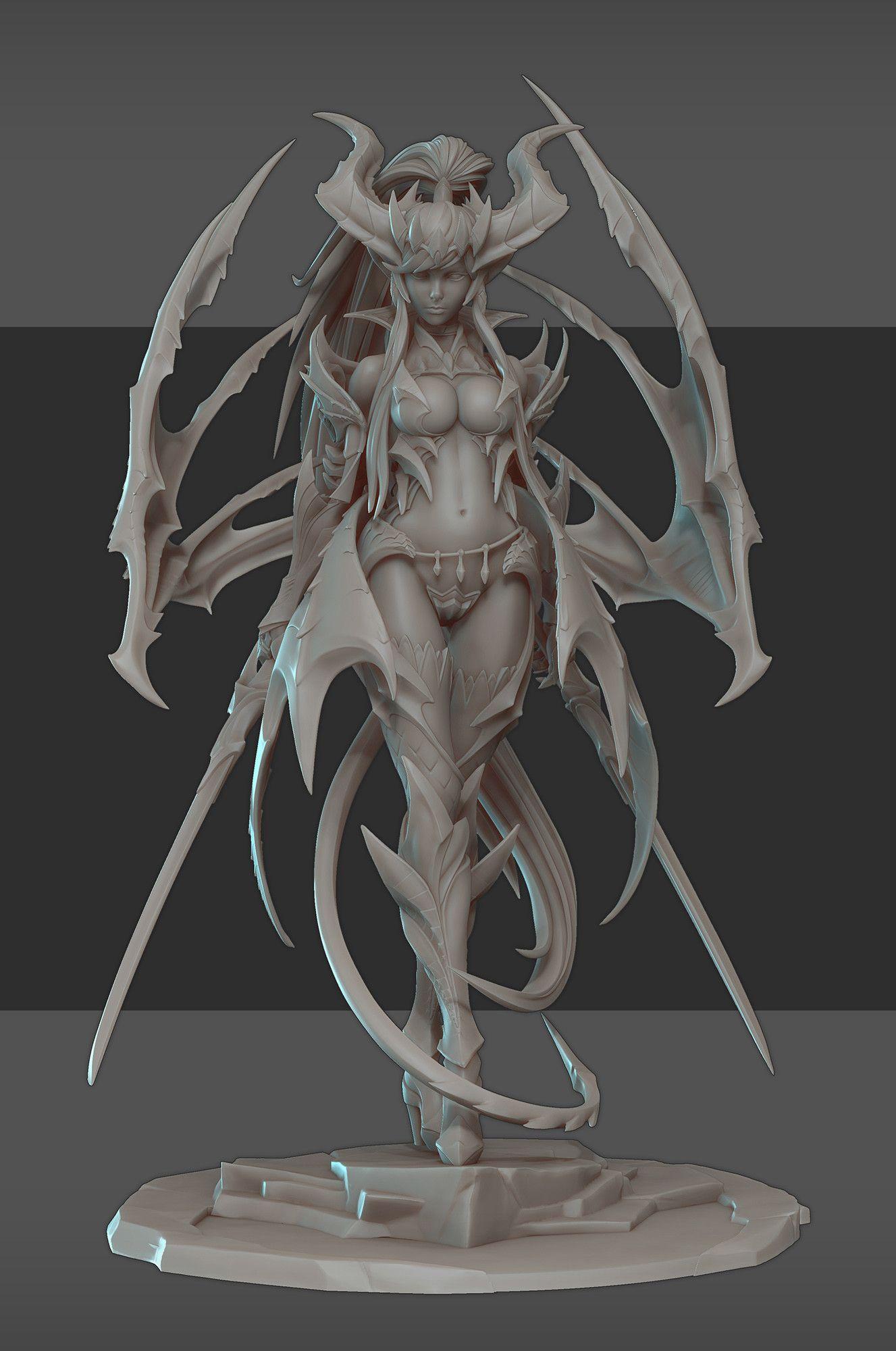 ArtStation - Lucilla, Vampiric drake figure, Vadim Bakhlychev