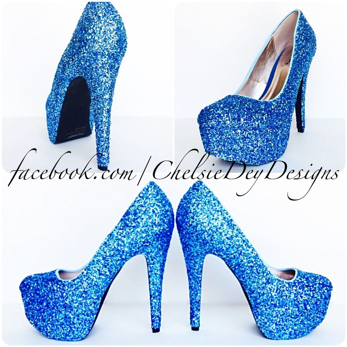 738fcc28efb Malibu Blue Glitter High Heels