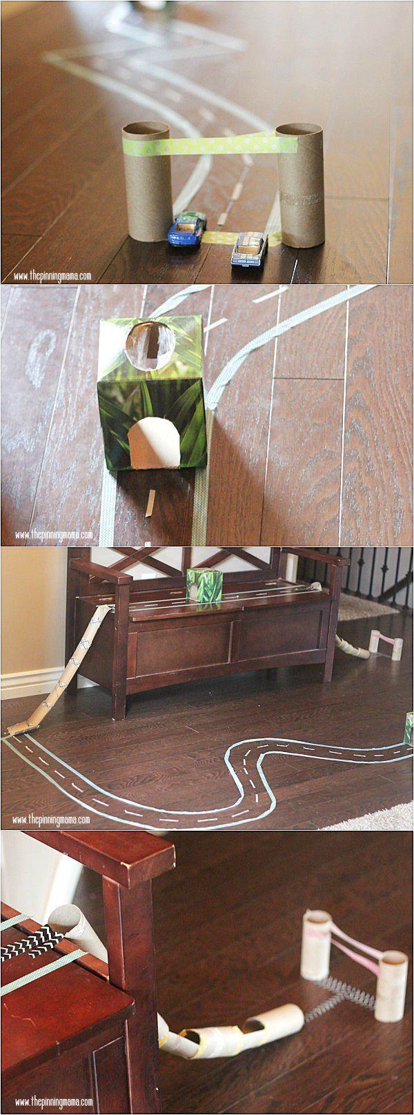 LOVE this! Make a race track for your kids out of washi tape and old toilet paper tubes. This is so perfect for when it gets cold and we have to stay inside!  Click for FULL Materials list and step by step instructions!  #caretorecycle sponsored