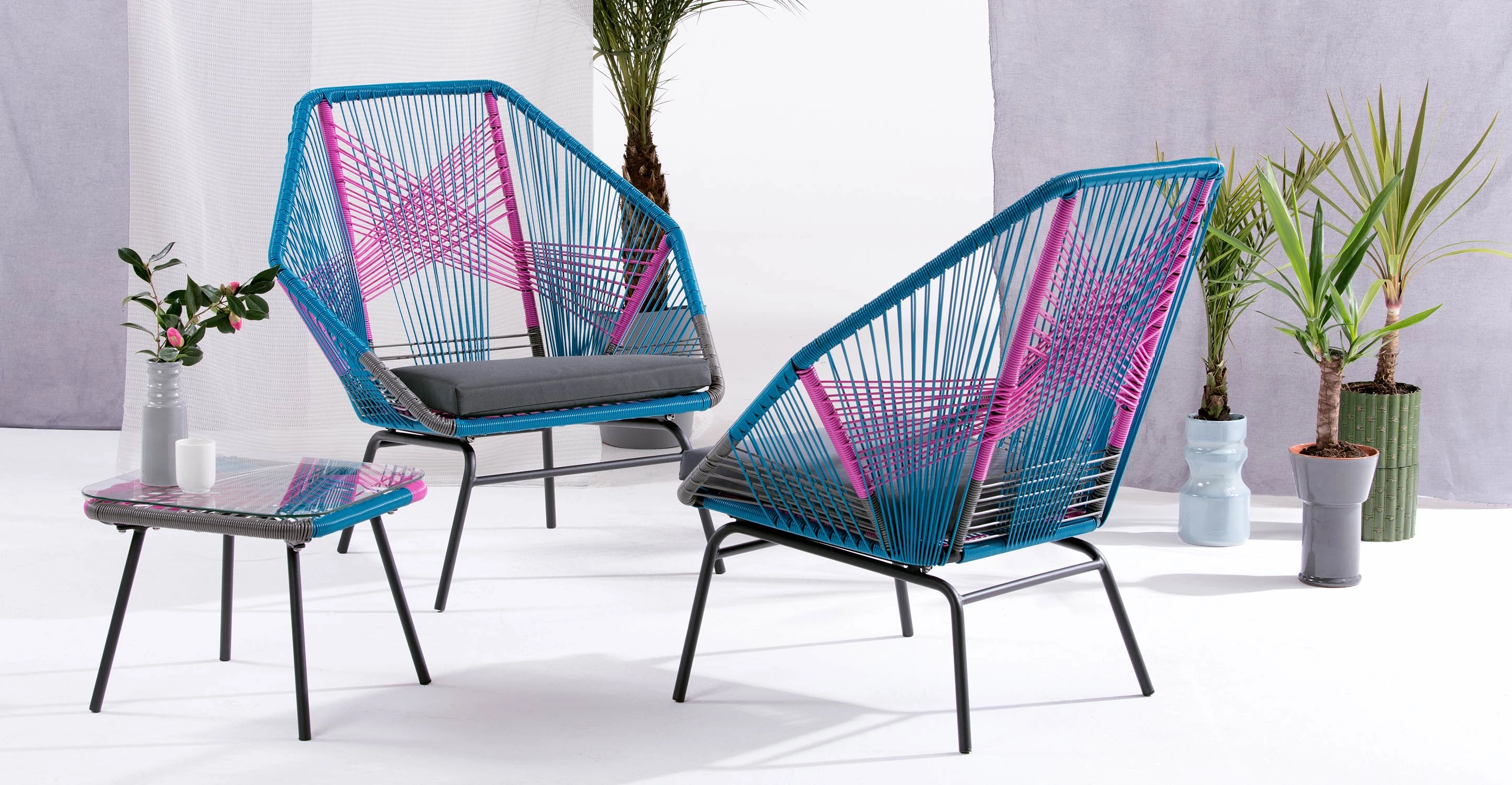 Acapulco chair cb2 - Copa Outdoor Aperitif Set Spectrum Pink 329 Acapulco Chair Table Blue