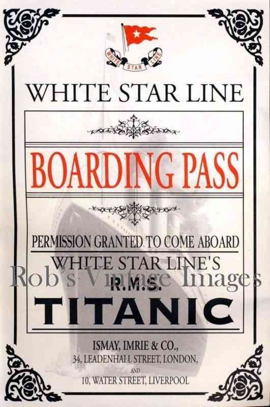 Titanic Boarding Pass Photo Print White By Robsvintageimages Titanic Artifacts Titanic History Titanic Facts