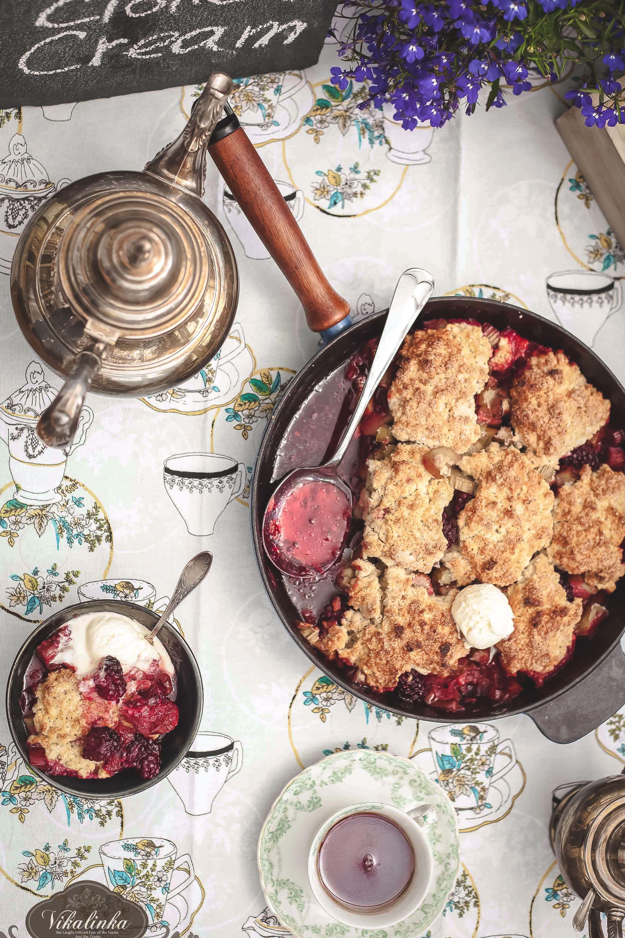 Rhubarb Blackberry Cobbler with Clotted Cream Ice Cream
