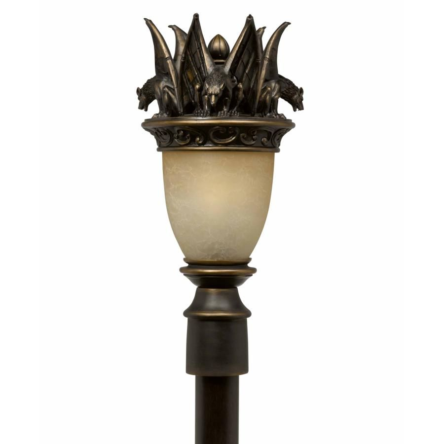 Gargoyle 1 Light Gothic Outdoor Post Lamp Lighting Fixture Oil Rubbed Bronze Hand Blown Cognac Antiqued Outdoor Post Lights Lamp Post Lights Post Lights