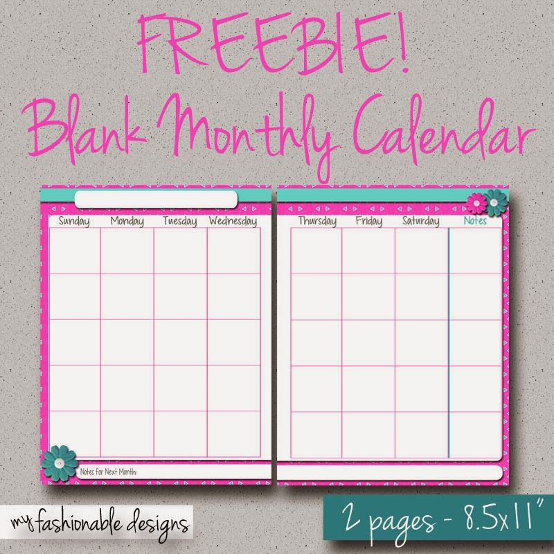 FREE Printable 2-page Monthly Calendar - Spring Flowers | My ...