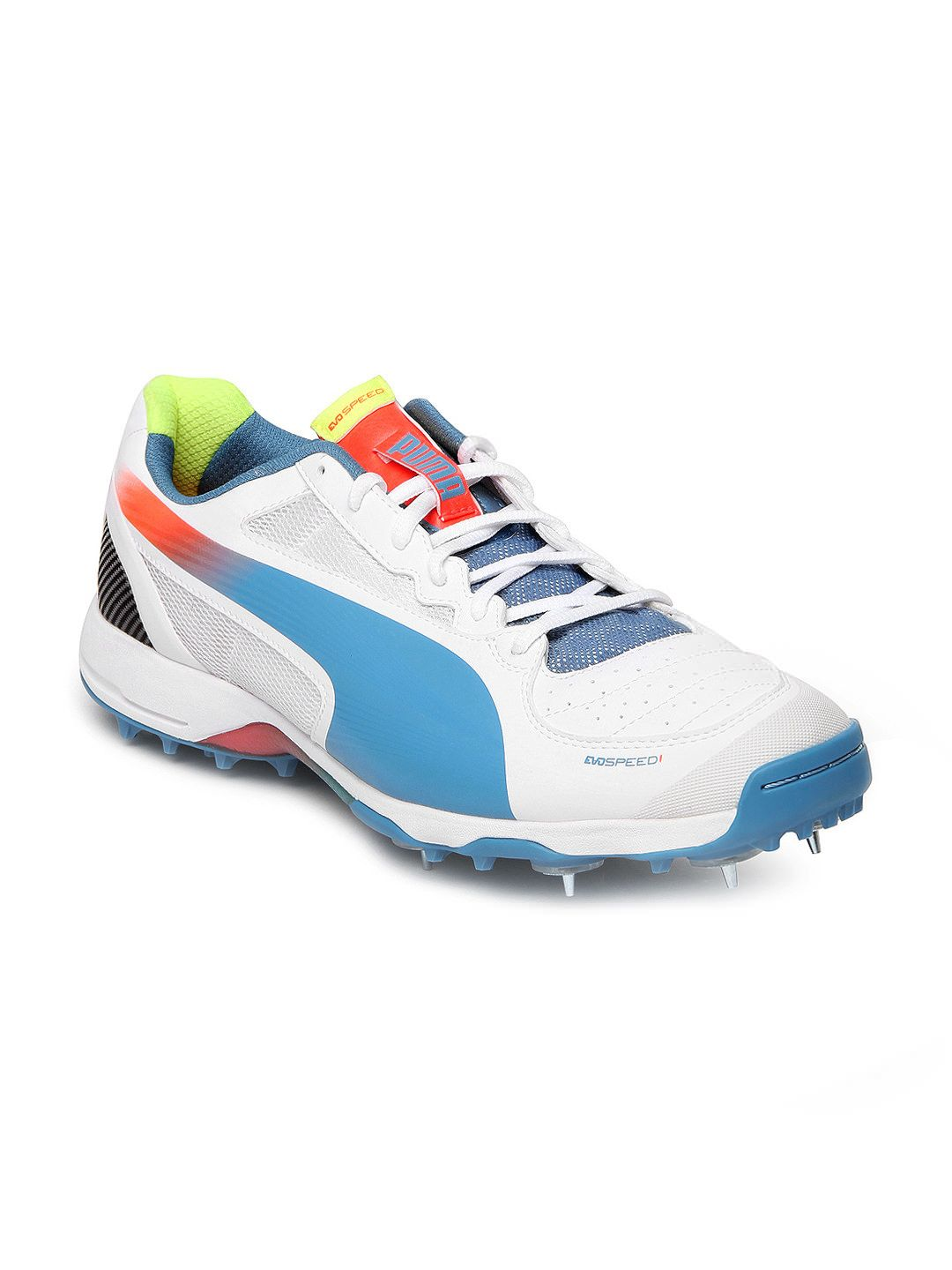 white blue orange evospeed cricket spike 1 2