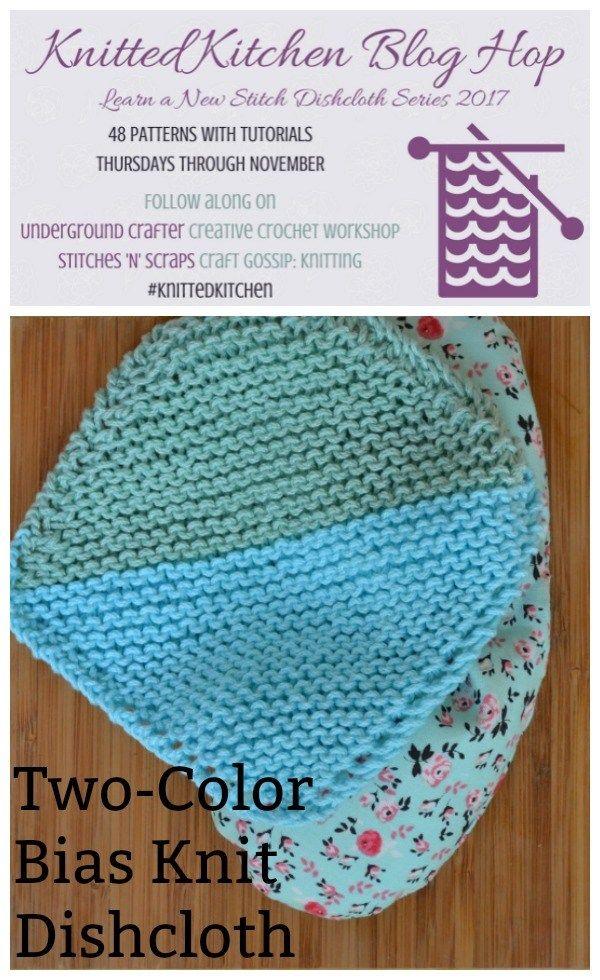 Two-Tone Bias Knit Washcloth | Knitted washcloths, Knitting patterns ...