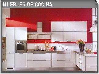 Muebles Blancos (y parte de pared) y fondo rojo | Cocinas ...