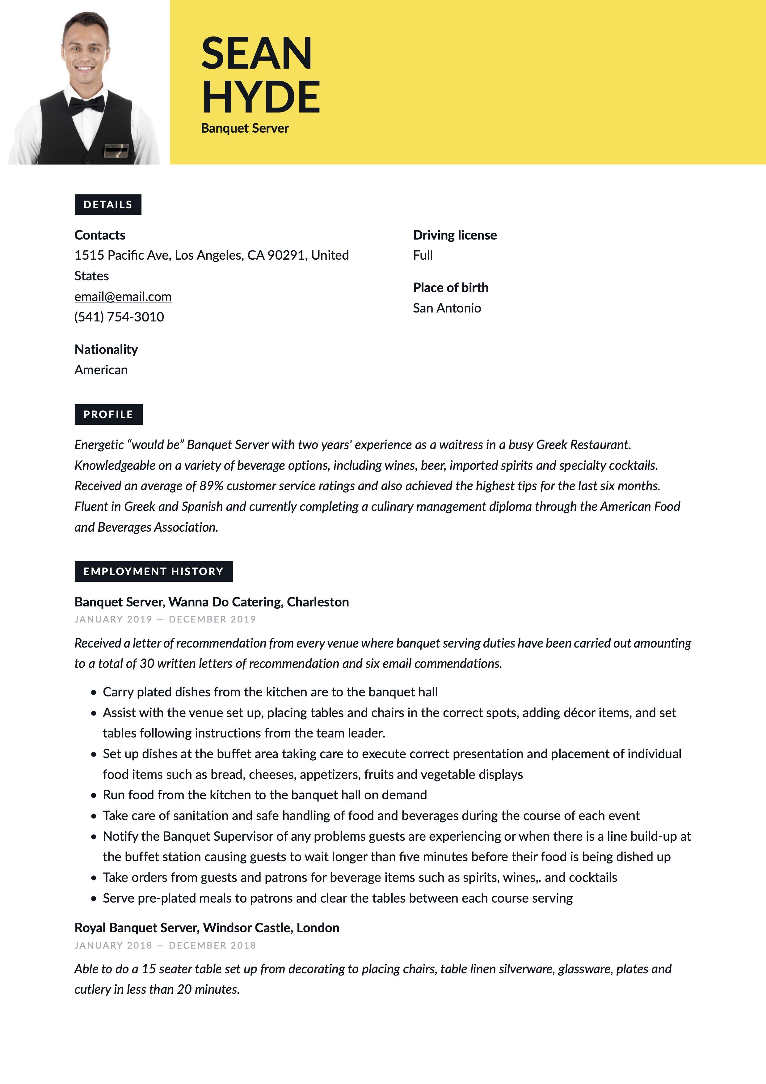 Banquet Server Resume Template in 2020 Server resume