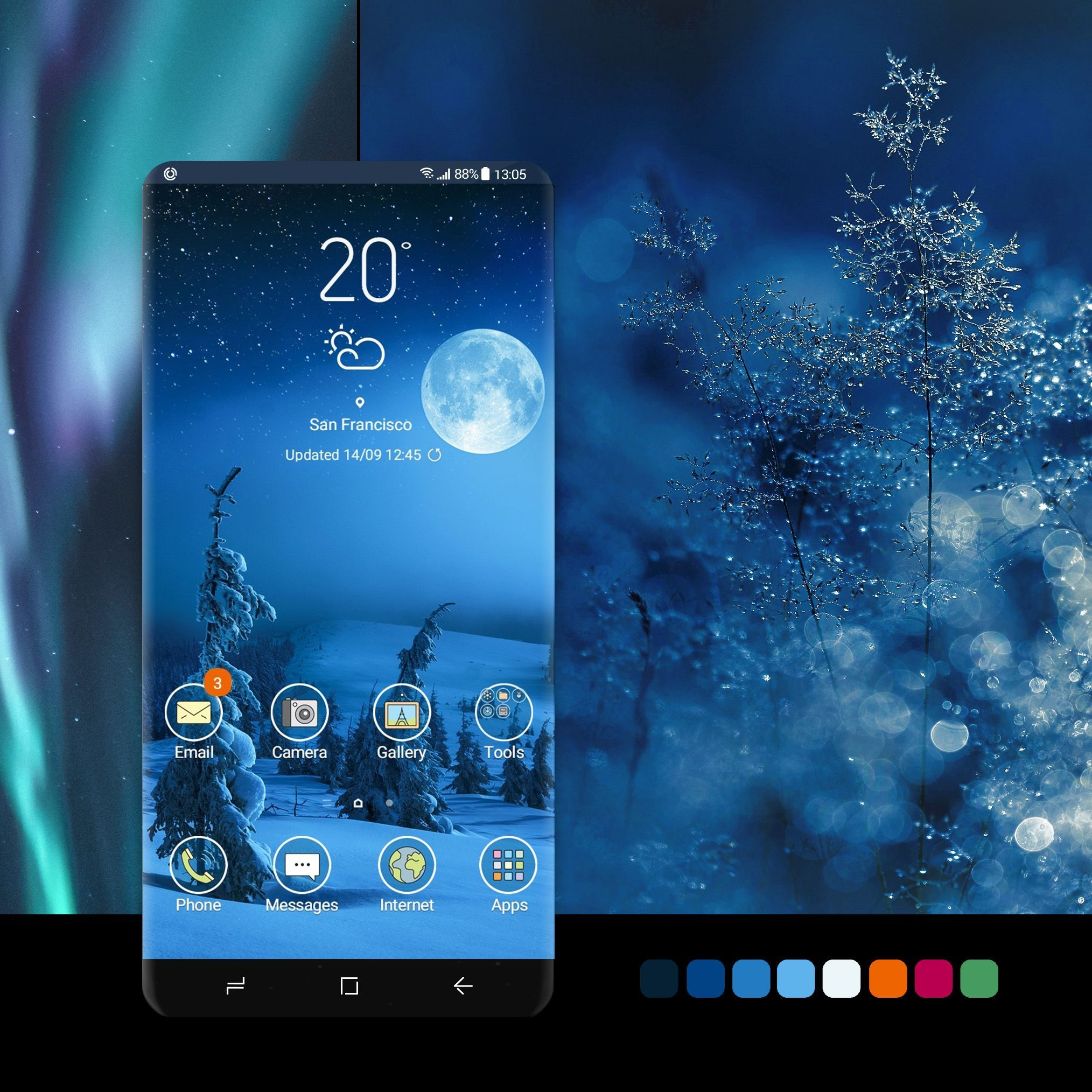 Winter Night Theme wallpaper, android, phone,