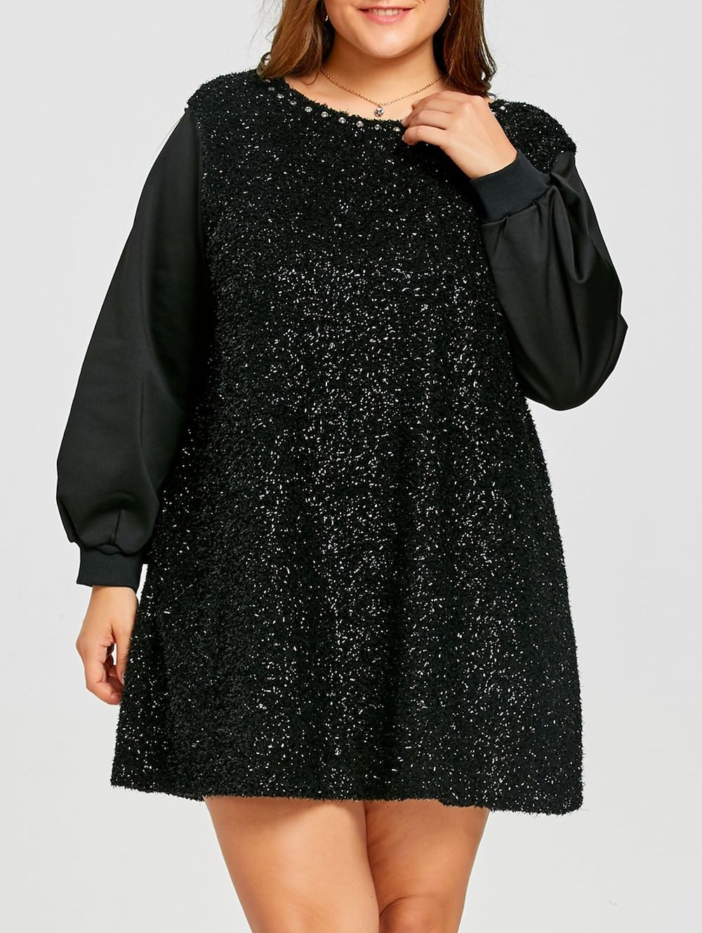 Plus size rhinestone long sleeve fuzzy dress lace sheath dress