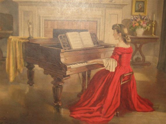 Signed Vintage Ditlef Sonata Lady In Red Woman By