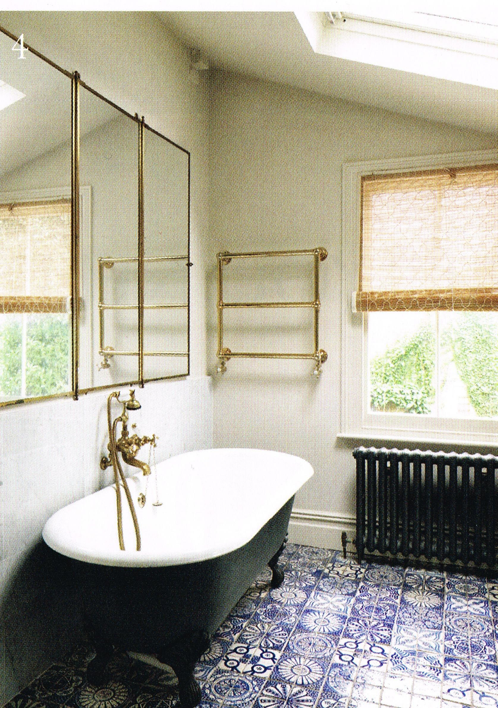 Bathroom in house in London, E9. Vintage Brot triptych mirror ...