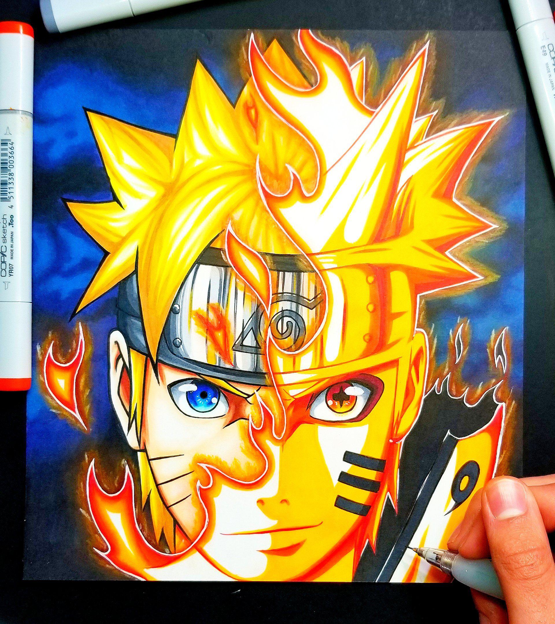 Original Fan Art Of Naruto Bijuu Mode Video Will Be Out This Weekend On Zain Artz Youtube Naruto Naruto Painting Naruto Uzumaki Art Naruto Sketch