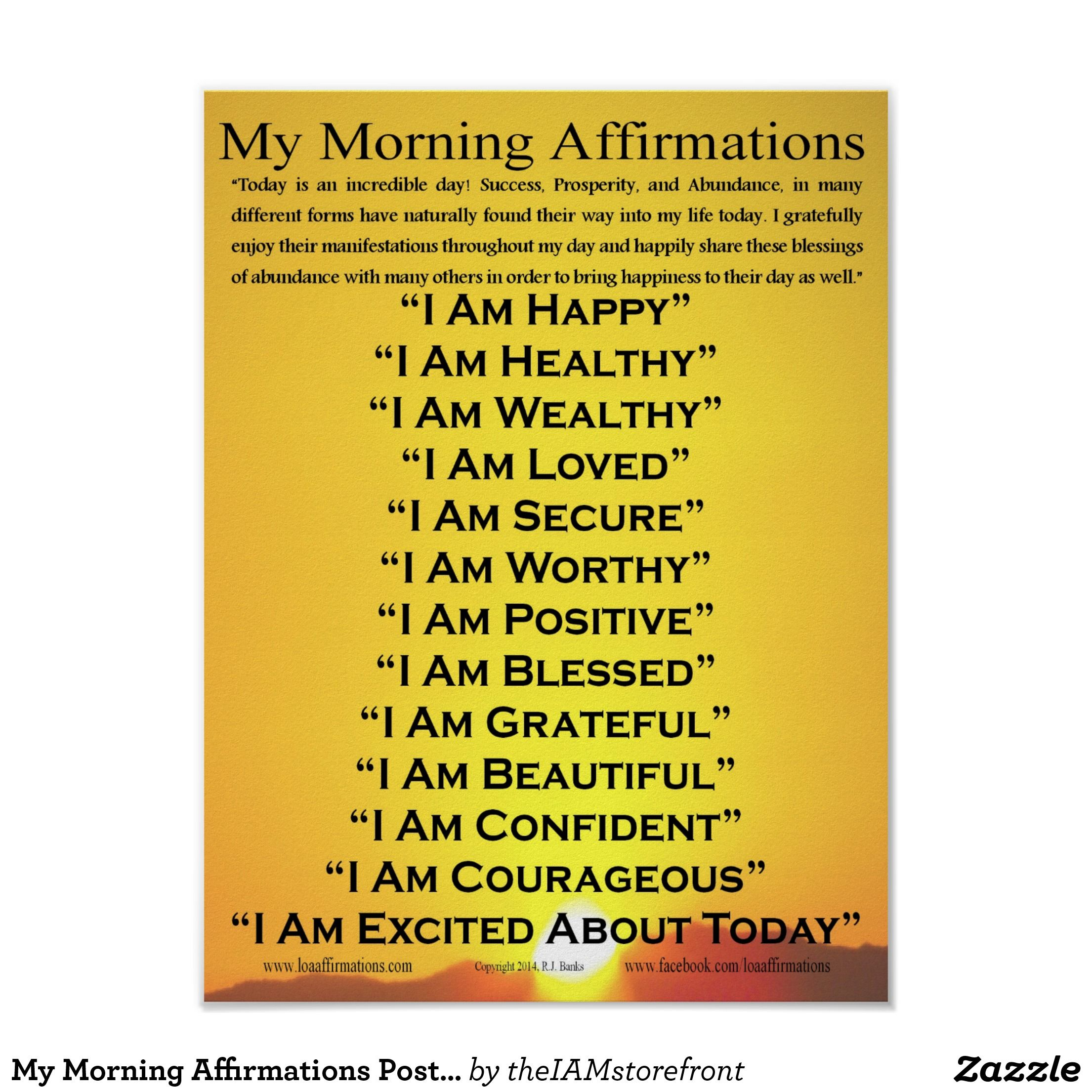 My Morning Affirmations Poster 12 X 16