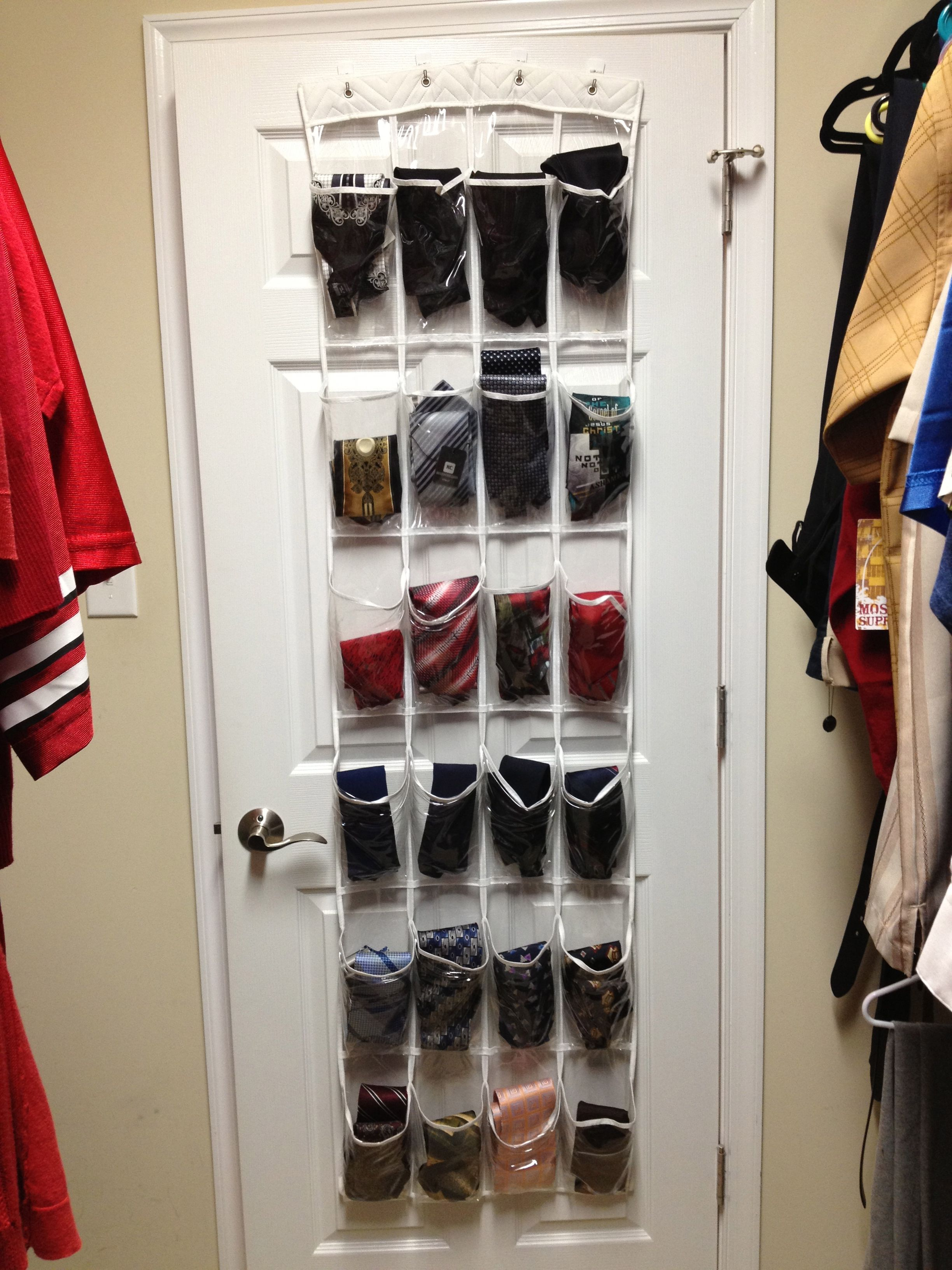Men s Tie Storage Use an over the door shoe organizer hang with 3M hooks