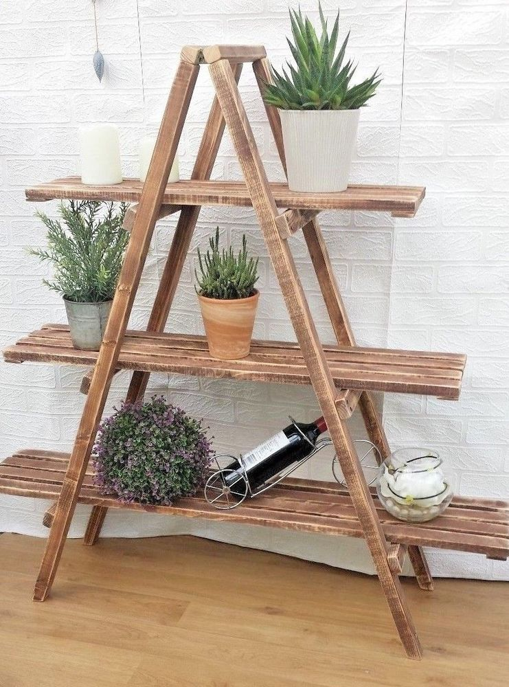 Details About Rustic 3 Tier Wooden Ladder Shelf Shelves Bookcase Plant Flower Shelving Wooden