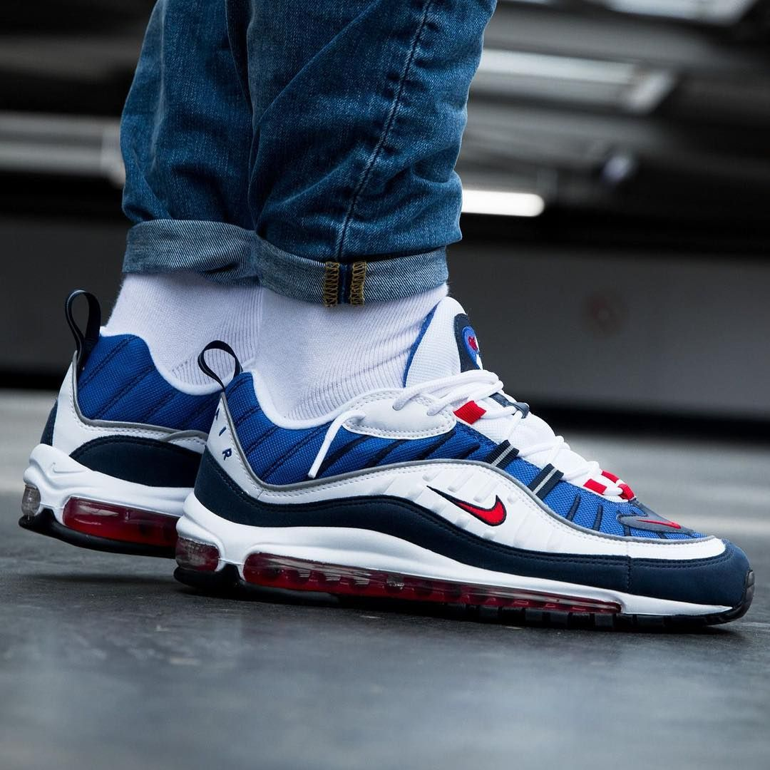 online store 2dde0 ef137 Nike Air Max 98 White  Red  Blue Credit  Overkill