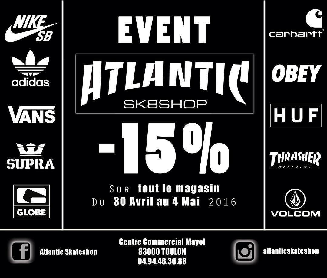 Instagram #skateboarding photo by @atlanticskateshop - EVENT chez ATLANTIC SKATESHOP !! -15% SUR TOUT LE MAGASIN DU 30 AVRIL AU 4 MAI !!! DE L'INEDIT !! -15% EGALEMENT SUR LE SKATE LONGBOARD MATOS DE SKATE CAPS ACCESS ... #event #promo #prixcassé #faistoiplezzz #nikesb #adidas #vans #supra #globe #carhartt #obey #huf #thrasher #volcom #petitsprix #duréelimitée #newco #access #sk8 #skateboarding #matos #matosskate #atlantic #atlanticskateshop #toulon #mayol. Support your local skate shop…