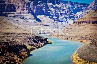 View down the Grand canyon towards Lake Mead Royalty Free Stock Photo