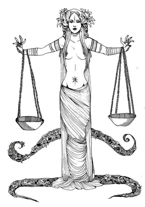 Libra Greek Mythology Goddess of Justice Coloring Page - Free ...