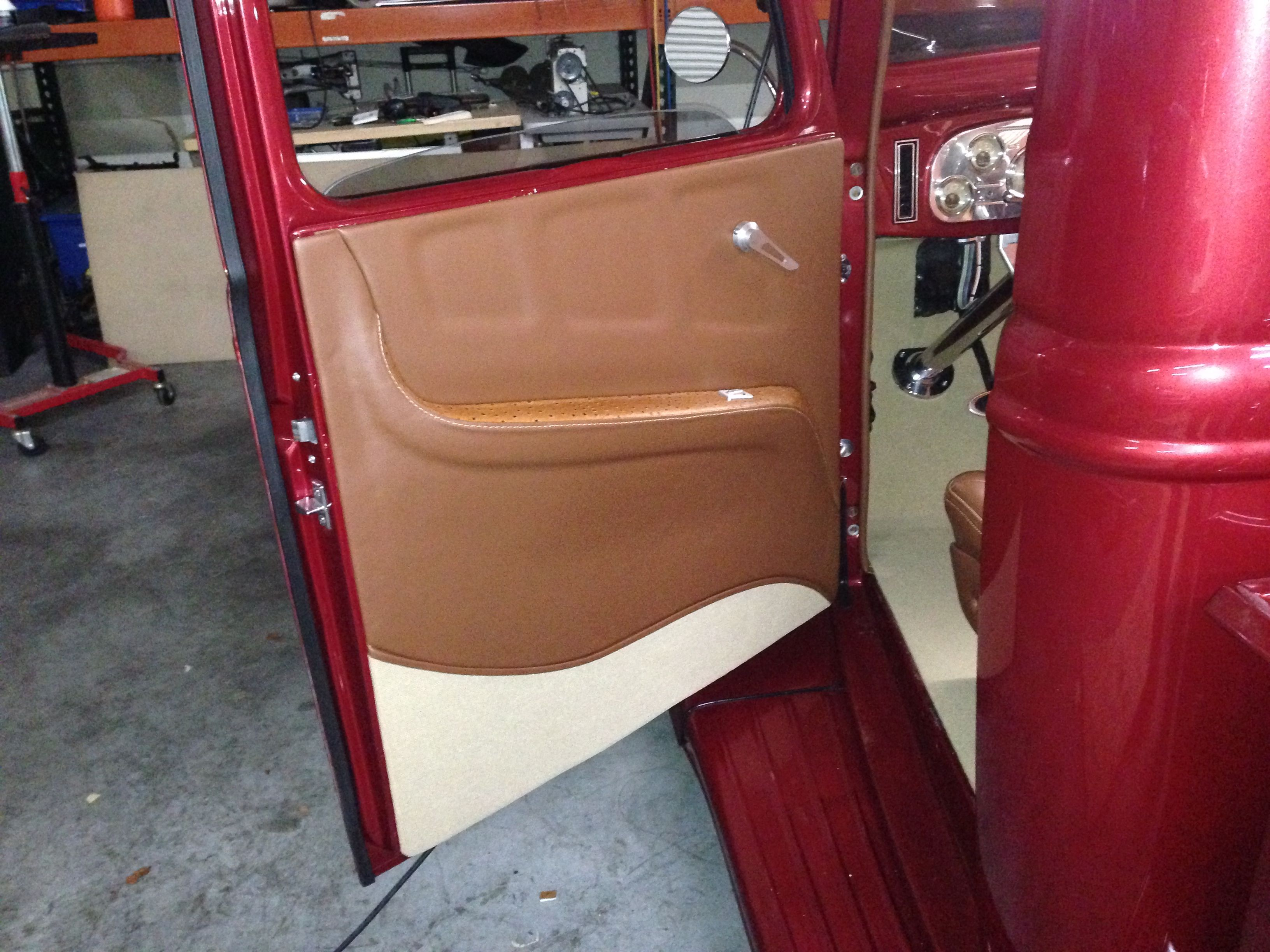 1936 Ford Pick Up Truck Custom Made Door Panel In Vinyl By Romero S Auto Tops Ford Pickup Truck Interior Ford Hot Rod