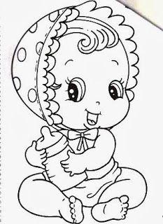Desenho Bebe Menina Com Mamadeira Para Pintar Bebe Desenho
