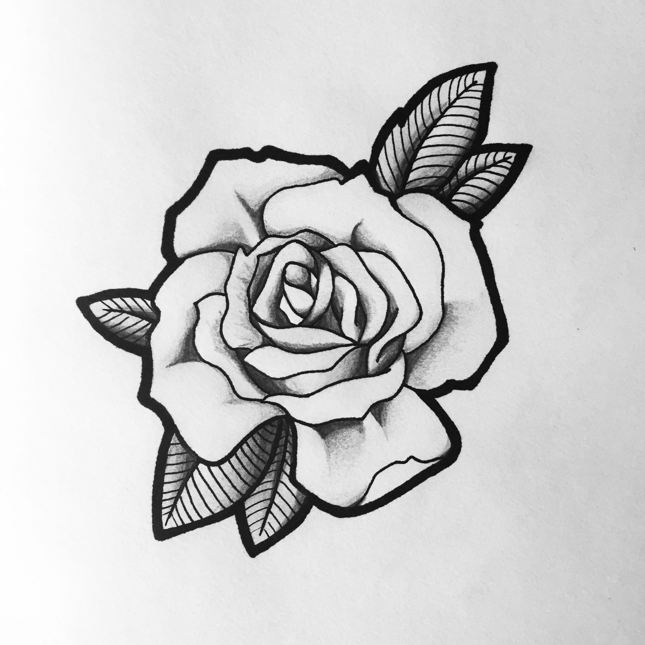 Rose tattoo design black and grey Black and white flower