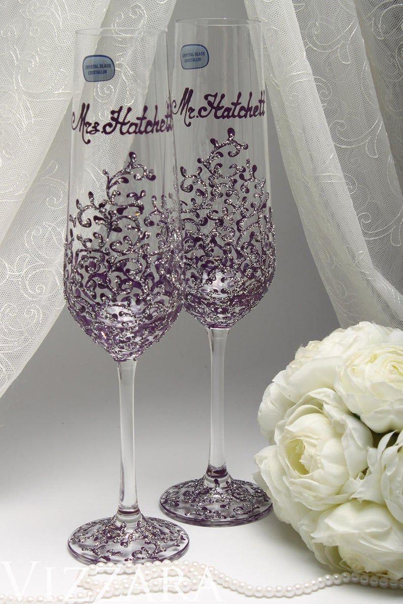 Champagne flute rustic wedding wedding cake servers set
