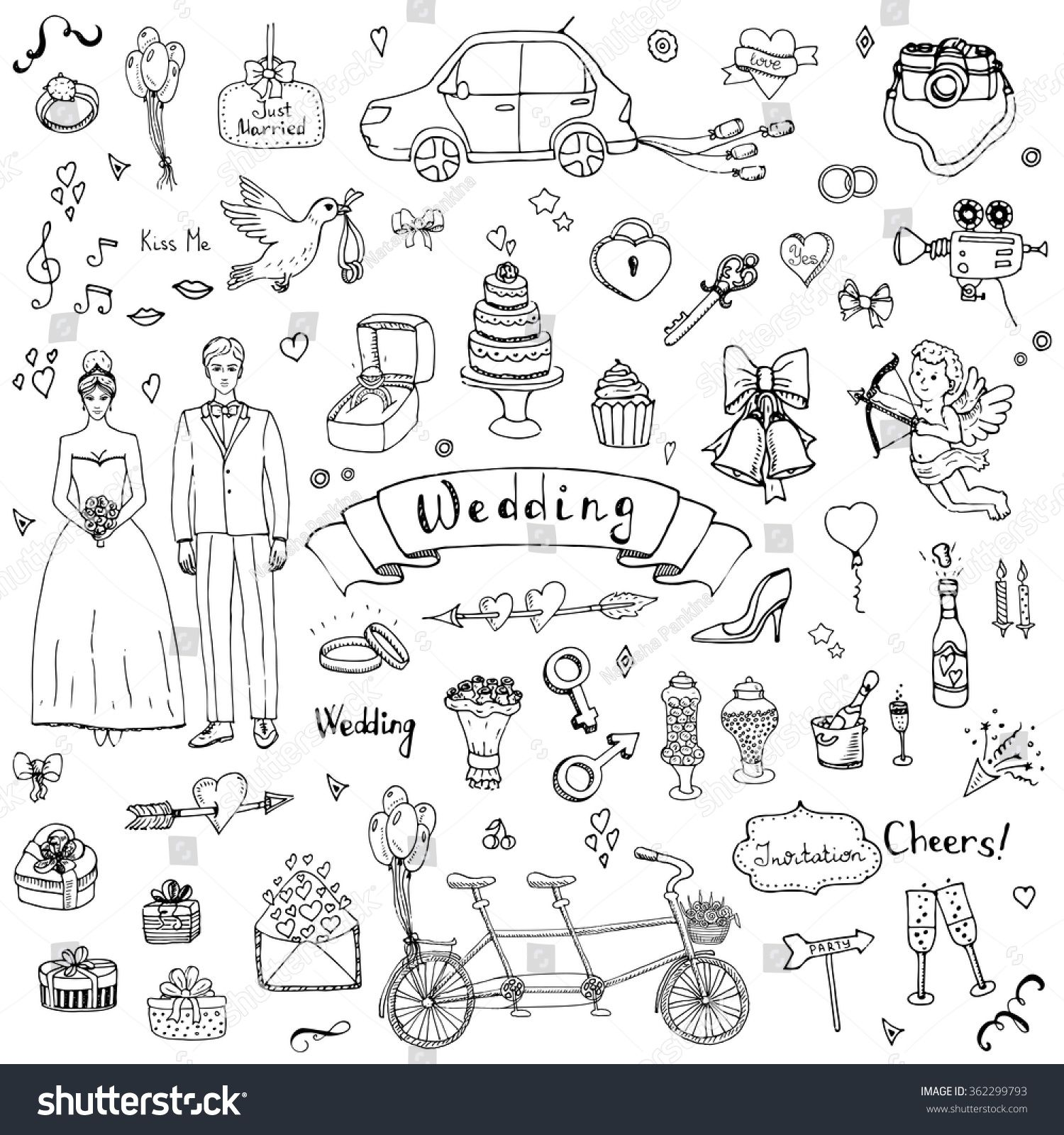 Hand Drawn Doodle Wedding Collection Vector Illustration Sketchy Marriage Icons Big Set Of For Day Love And Romantic Events Bride Groom Heart: Drawn Chalkboard Wedding Ring At Reisefeber.org