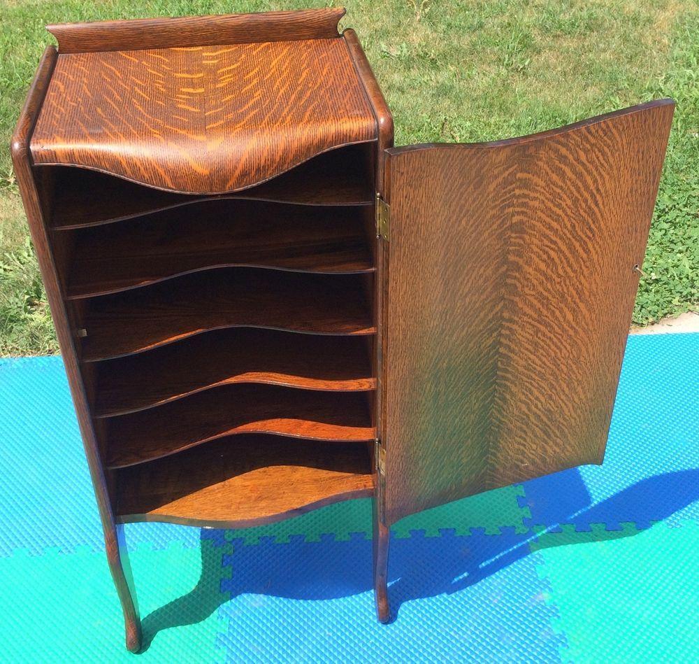 Best Kitchen Gallery: Antique Herzog Tiger Oak 150 Record Storage Cabi Phonograph of Cabinet Storage Turntable on rachelxblog.com