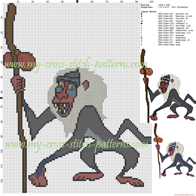 Rafiki The Lion King Cross Stitch Pattern Disney Cross Stitch Patterns Cross Stitch