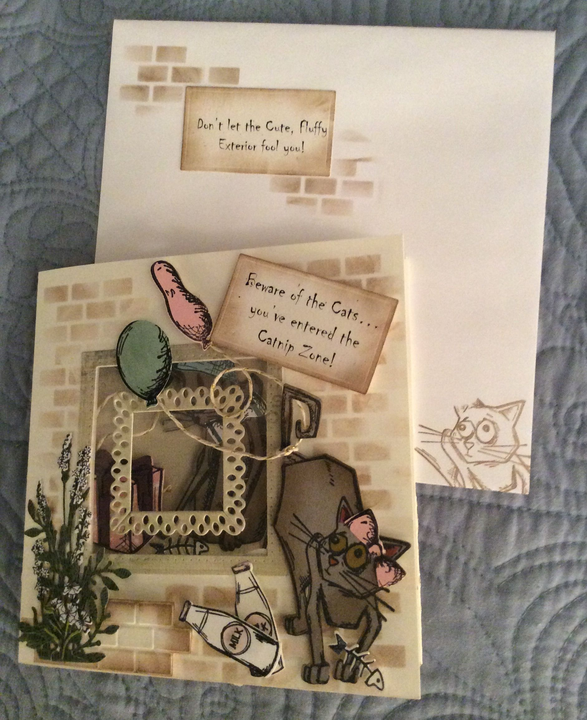 Cat Themed Birthday Card Using Karen Burniston Dies And Tim Holtz Crazy Cats