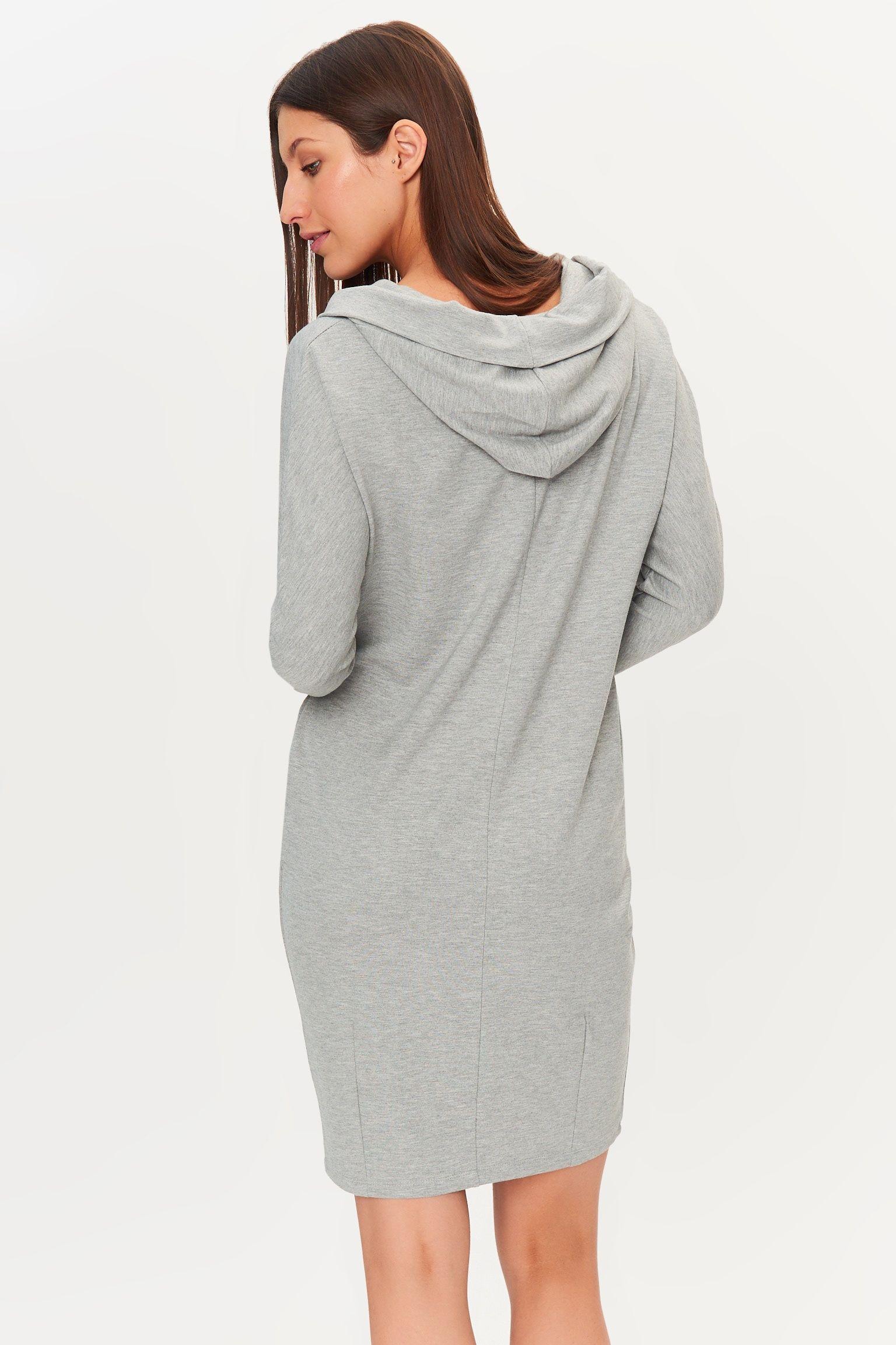 28f72c8c15 Tatuum Awalia 1 jasnoszara sukienka z kapturem kolor  szary (dzianina   wiskoza 70