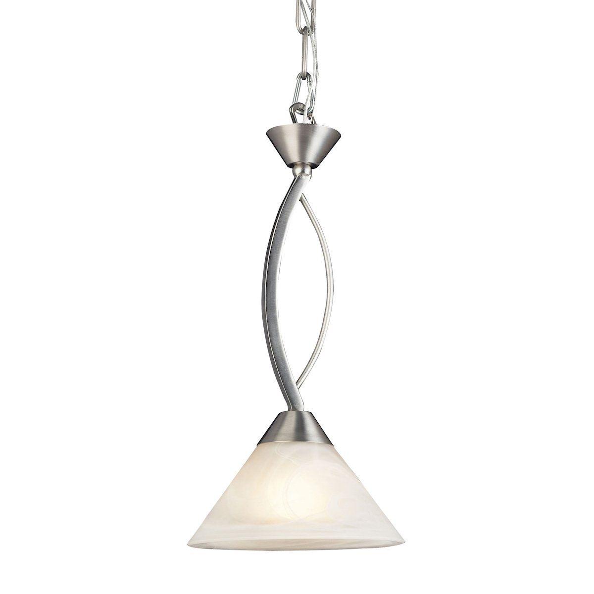 Elk lighting elysburg light pendant in satin nickel and white
