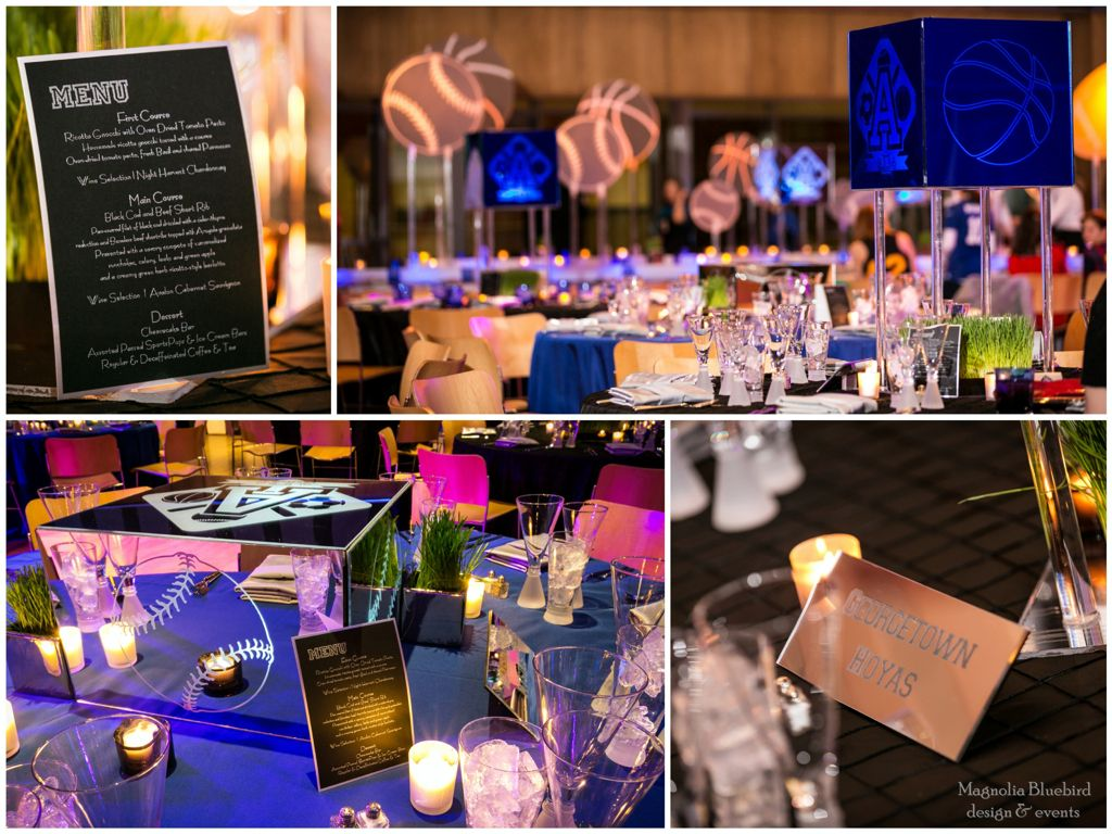 Tags bar and bat mitzvah event decor themes venues - Lucite And Mirror Custom Centerpieces Sports Themed Table Names And Menu Card Bar Bat Mitzvah Themesbar Mitzvah Partycool