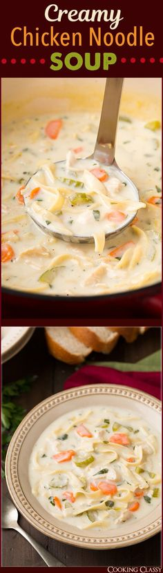 Creamy Chicken Noodle Soup - Cooking Classy