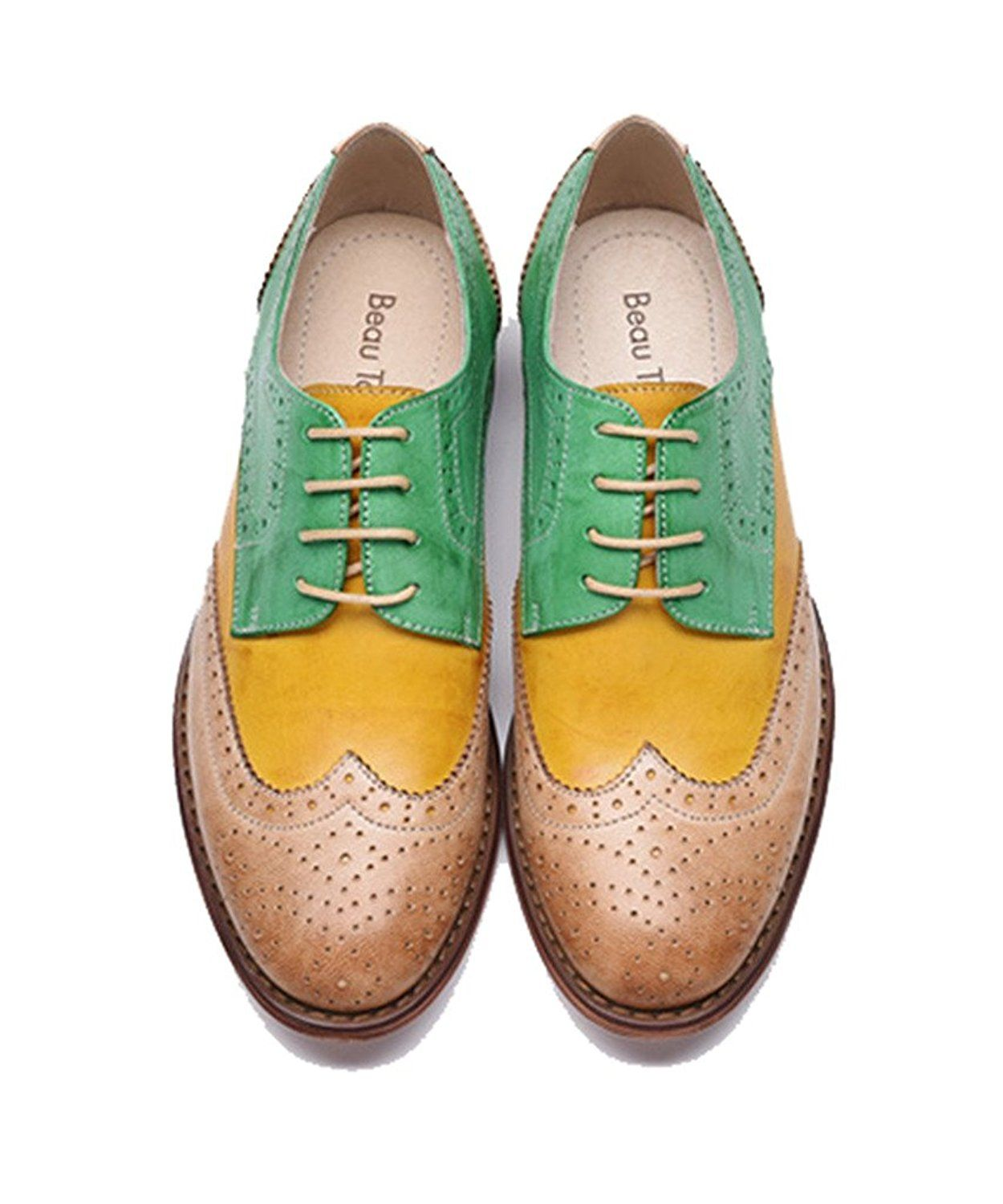 1069d21c8b U-lite Green Yellow Perforated Brogue Wingtip Leather Flat Oxfords Vintage oxford  shoes Women GY 5.5