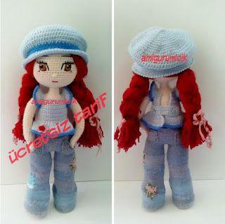 Amigurumi Kot Pantolonlu Kız Yapılışı-Amigurumi Girl in Jeans Free Pattern #crochettoysanddolls