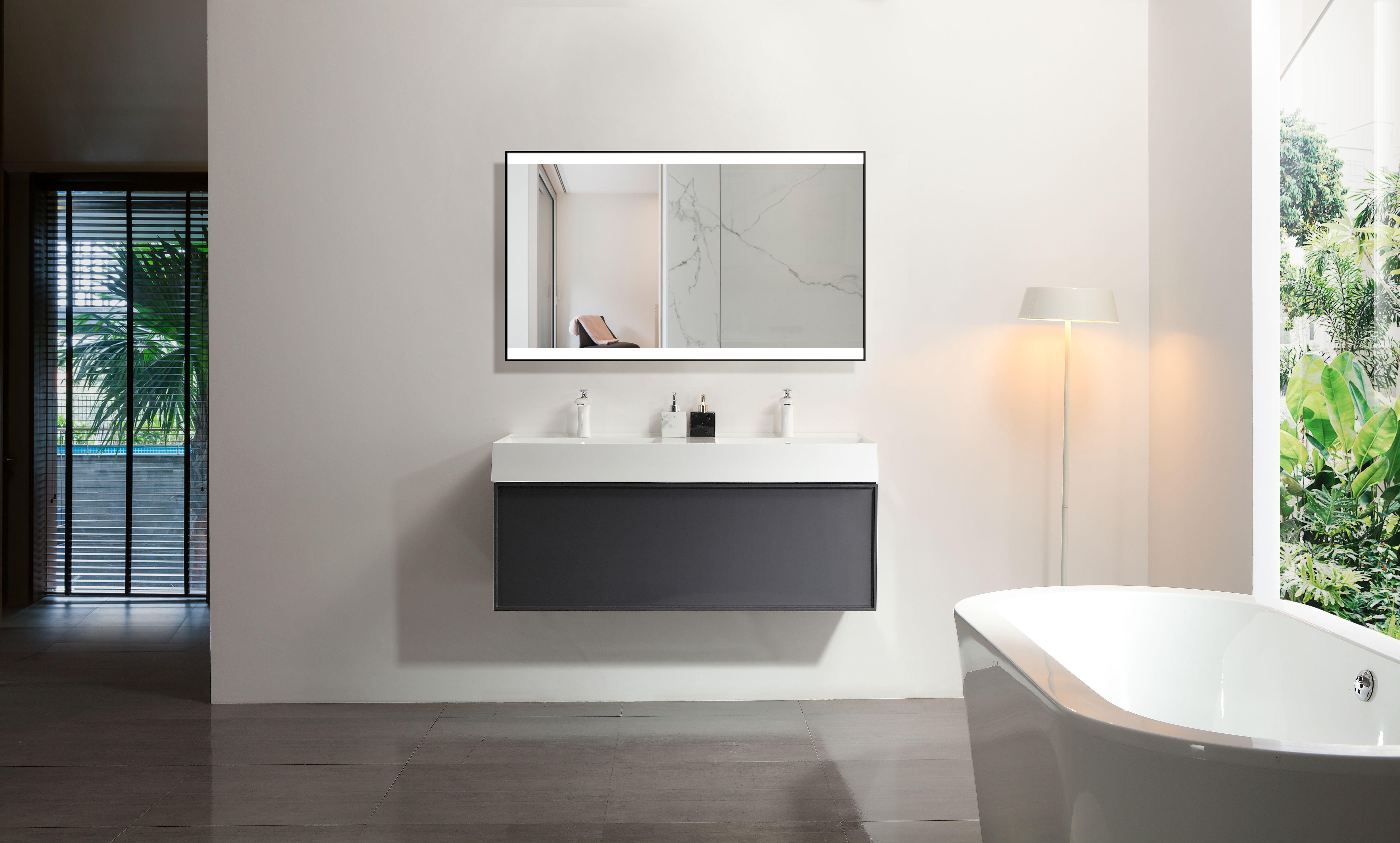 Led Badspiegel Mit Schwarzen Rahmen Badspiegel Led Spiegel Und Spiegel