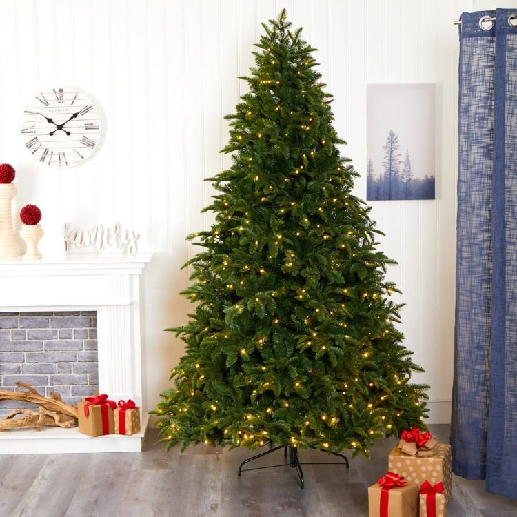 7 5 Wyoming Fir Artificial Christmas Tree With 500 Clear Led Lights And 1580 Bendable Branches In 2020 Artificial Christmas Tree Christmas Tree Best Artificial Christmas Trees