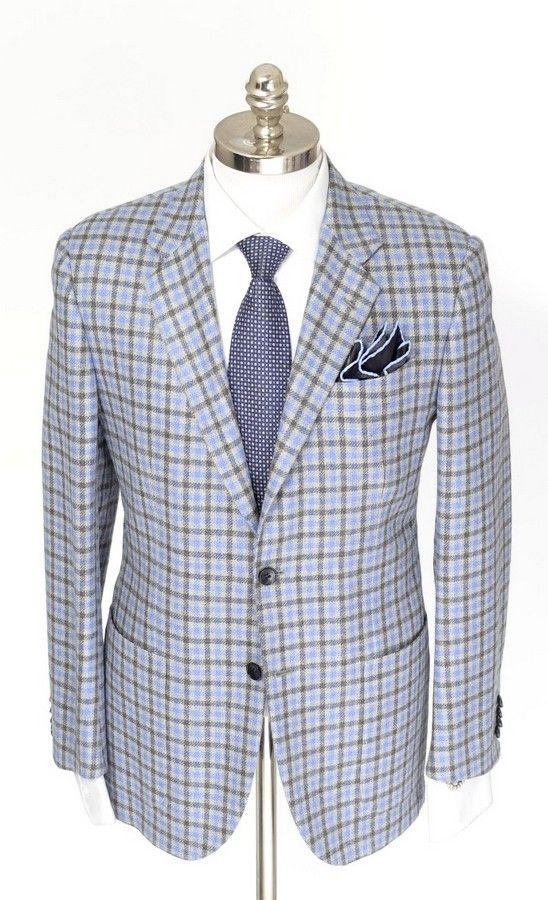 Kiton Ego Gray Plaid Check 100 Cashmere Handmade 2btn