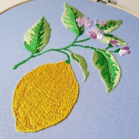 A little bit obsessed with lemons at the minute so I stitched one using dmc_embroidery pattern #DMC #HandEmbroidery #Lemons