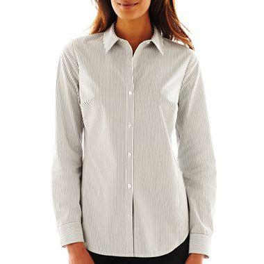 df30a24167b66d Worthington® Essential Long-Sleeve Button-Front Shirt - jcpenney ...