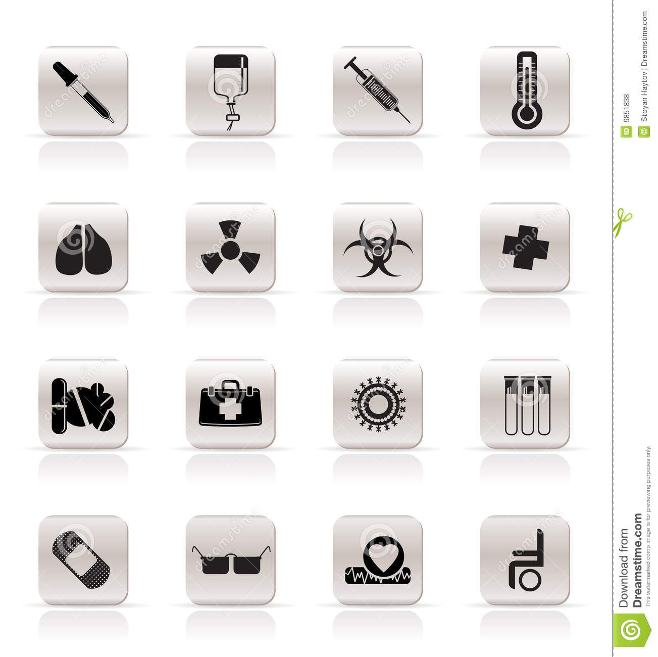 Collection Medical Themed Icons And Warning Signs Vector Icon Set