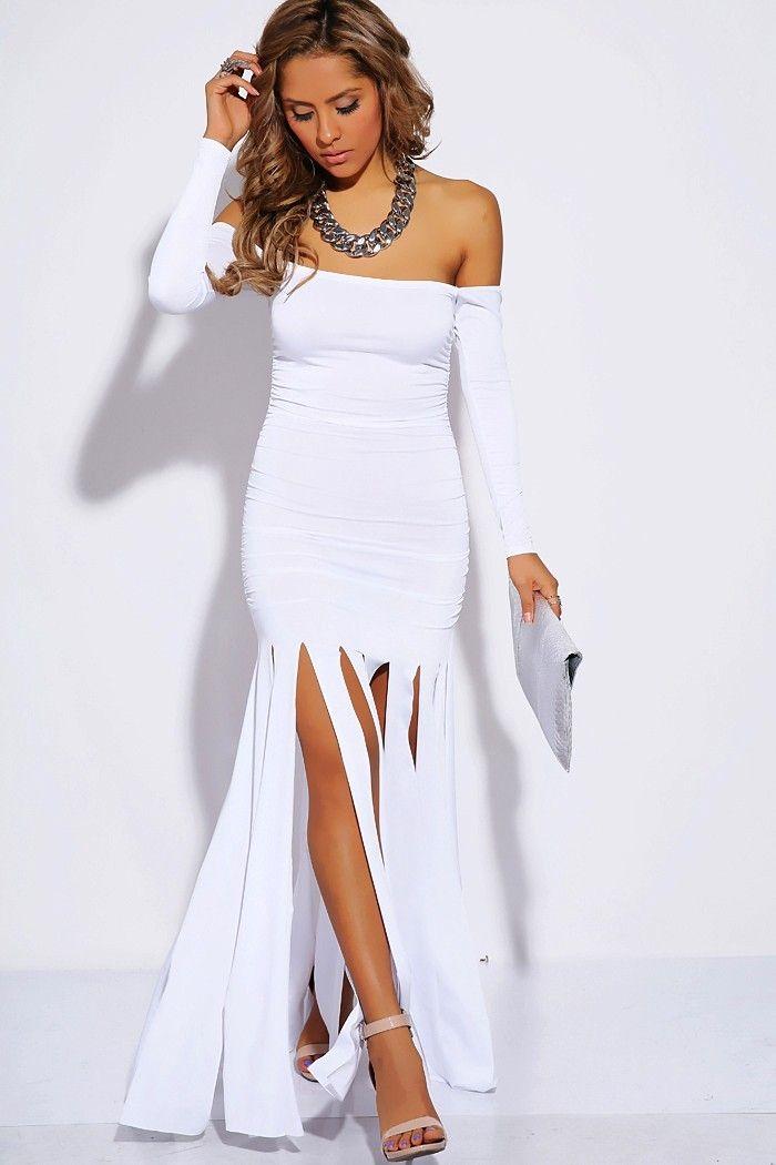 b5d4182a0b63 Shop Kami Shade' - Body Conscious White Fringe Maxi Dress, $104.00 (http: