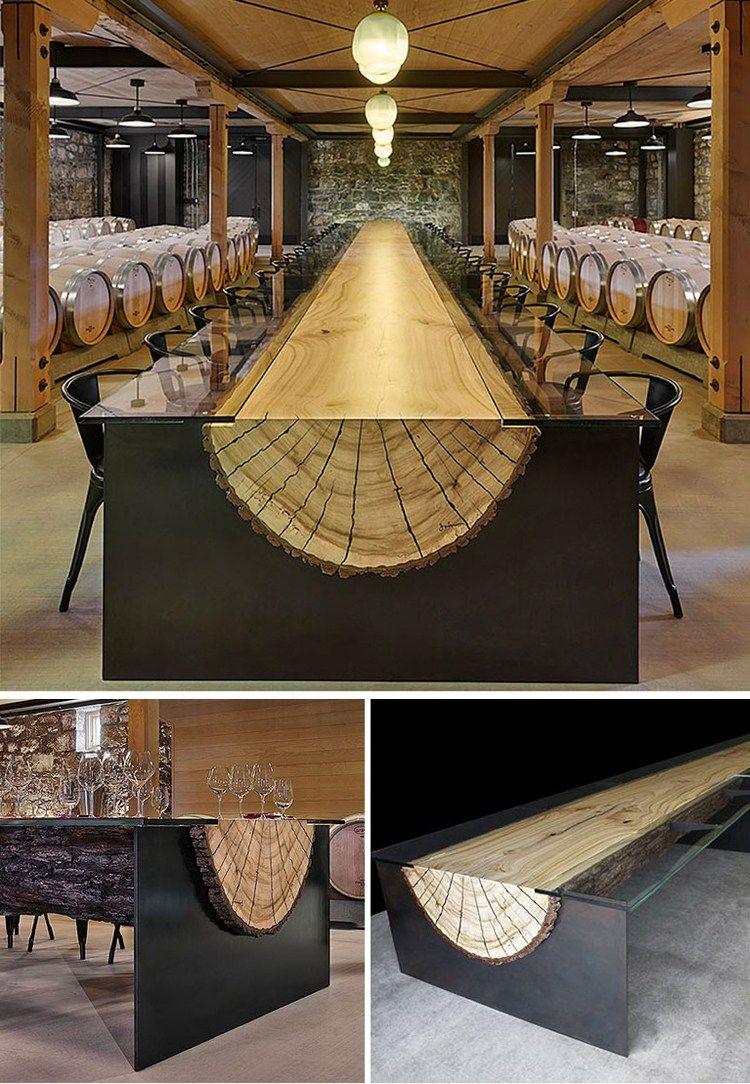 Design homemade dining table plans diy ideas 187 woodplans woodplans - 20 Der Einzigartigsten Schreibtisch Und Tabelle Designs Berhaupt 2 Log Table 0 5