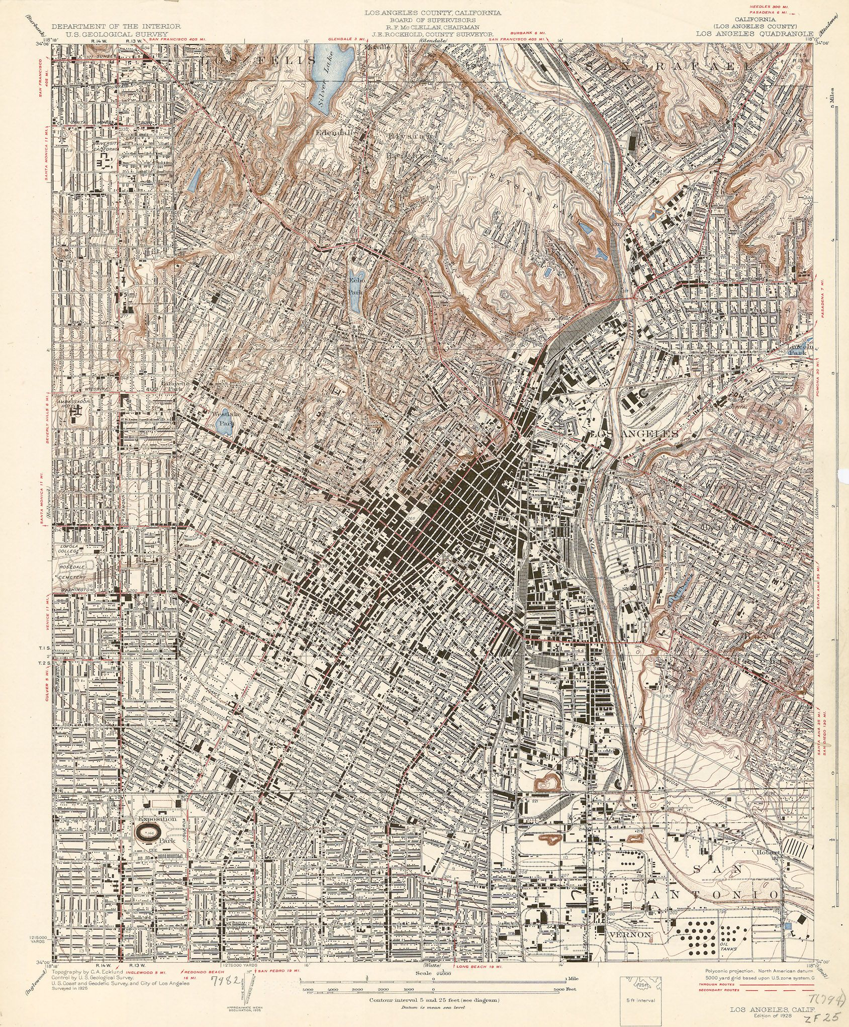 Map Of The Los Angeles Quadrangle Showing Downtown Vernon East - Los angeles map silver lake